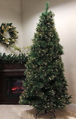 Pre-Lit Slim Long Needle Pine Artificial Christmas Tree with Clear Lights
