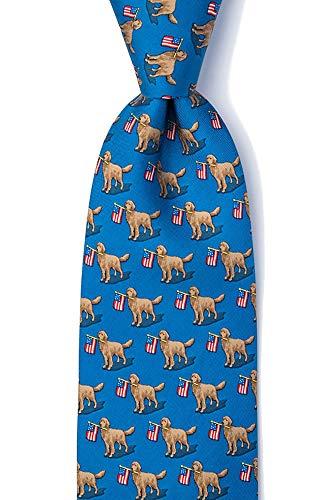 Men's 100% Silk In Dog We Trust Golden Retriever & American Flag Tie Necktie