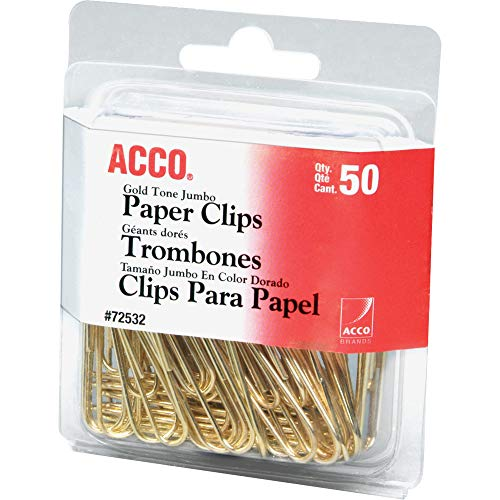 ACCO Paper Clips, Jumbo, Smooth, Gold, 50 Clips/Box (72532) Gold