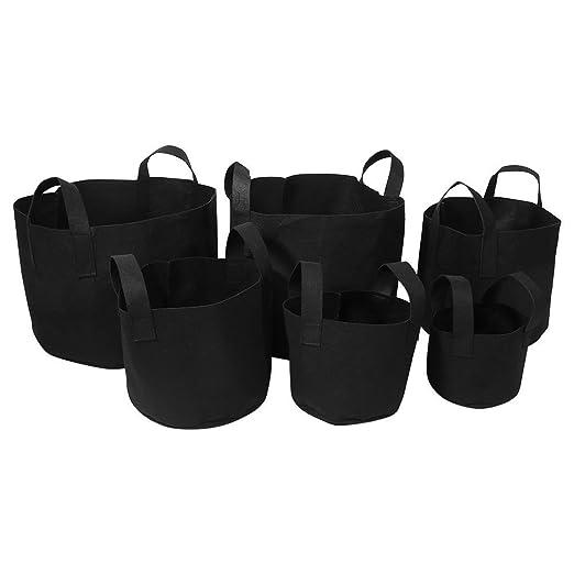 5 unidades bolsas de cultivo de flores y verduras de 3,78/7,57/11,36/18,93/26,5/37,85 litros. Bolsa con asas para jardinería 5 Gallon