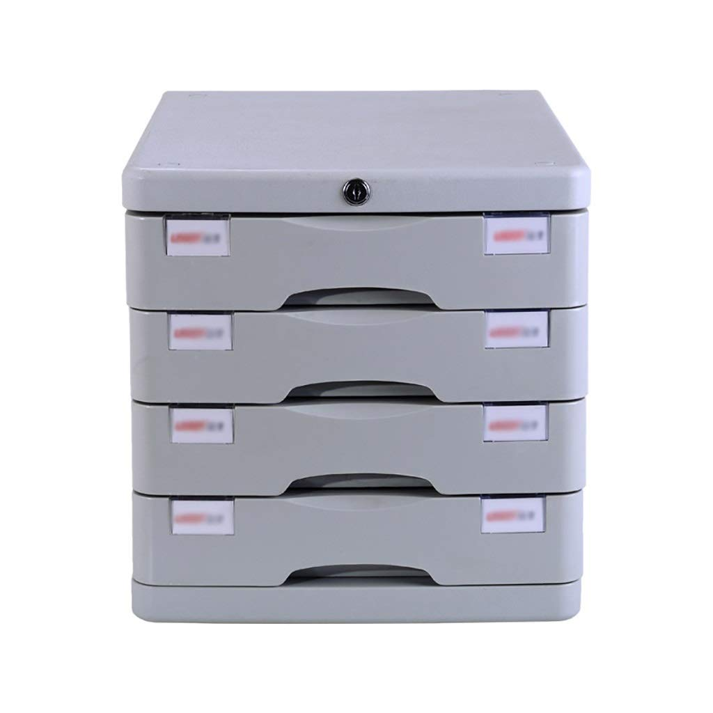 Bxwjg 4-Layer Desktop File Cabinet , with Lock Plastic Drawer Information Office A4 Storage White (Size:11.3in14.6in11.4in) by Bxwjg