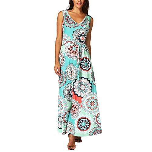 (2018 Hot Sale! Womens Bohemian Printed Wrap Bodice Sleeveless Crossover Maxi Dress (Green, 2XL))