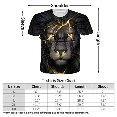80s 90s Retro Clothing for Mens Womens Realistic Print Shaggy Lightning Lion Graphic Tees Premium Quality Classic Fit Novelty T-Shirts Crew Neck Summer Casual Short Sleeve Gym Workout Rave Clothes XL
