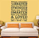 Accent Wall Decor Sticker Always Remember You are Braver Than You Believe Stronger Than You Seem Smarter Than You Think for Living Room Bedroom