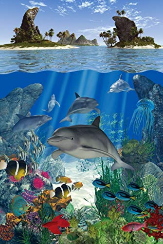 Mini Wooden Jigsaw Puzzle - Dolphin Reef - 49 Pieces - Made in USA by Nautilus Puzzles