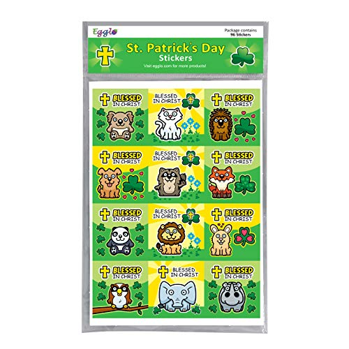 St. Patrick's Day Stickers (96 pack) - Super Cute Religious Stickers for Kids | Ideal St. Patrick's Day Sunday School Party Favors -Toys -