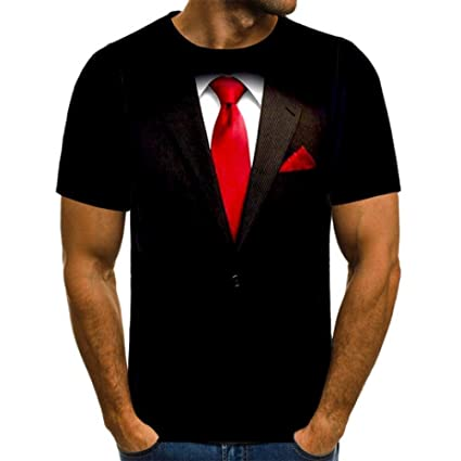 Camiseta de Manga Corta para Hombre,Traje Corbata 3D Cuello ...