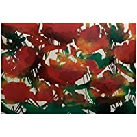 E by design RFN737RE2-35 Abstract Floral, Print Indoor/Outdoor Rug, , 3 x 5, Red