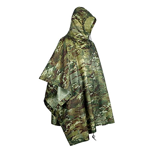 (WElinks Rain Poncho, Waterproof, Rip-Stop Military Camouflage Rain Poncho for Outdoor Camping Hunting Hiking, Portable Multi Function Rain Cover Raincoat Tent Awning Shelter)