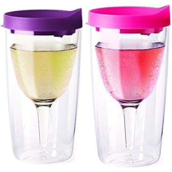 Vino2Go Double Wall Acrylic Tumbler with Purple and Pink Lids, 10 oz, Pack of 2