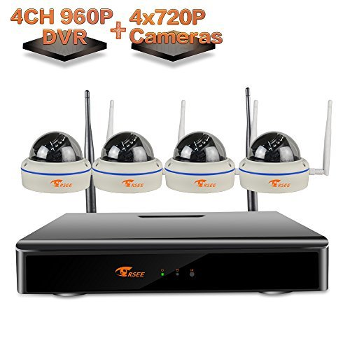 [4CH 960P DVR Kit] CORSEE Wireless Remote Home Surveillance Security Camera System,4x 1.0 MP Night Vision Security Dome IP Cameras (Support Motion Detection Alarm,Fast View,No Hard Drive) [並行輸入品] B01MU6LG2O