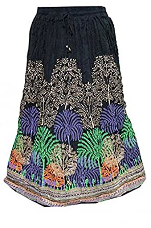 Bohemian Boho Skirt Peacock Printed Crinkled Black Gypsy Hippy Resort Wear Long Maxi Skirts M