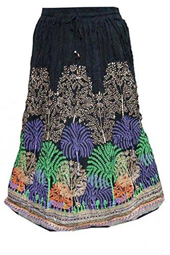 Mogul Interior Women's Skirt Black Peacock Printed Crinkled A-Line Rayon Skirts M
