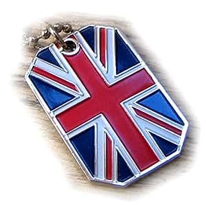 GREAT BRITAIN FLAG UNITED KINGDOM UNION JACK UK PENDANT DOG TAG CHAIN NECKLACE
