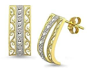 Amazon.com: 10k Two-tone Gold Vintage Filigree Design J