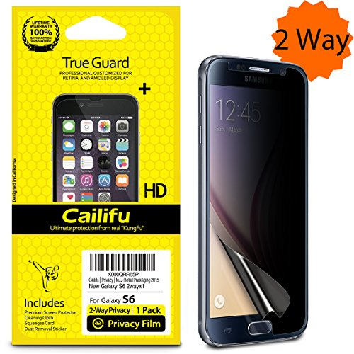 Cailifu [ Privacy ] for Samsung Galaxy S6 Highest Quality Premium 2 Way 180°Privacy Anti-Spy and Anti-Glare and Anti-Fingerprint Screen protector with Lifetime Replacement Warranty [1-Pack] - Retail Packaging 2015