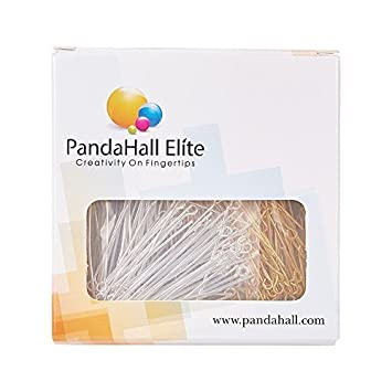 PandaHall Elite About 205 Pcs 304 Stainless Steel Head Pins Findings Eye Pin Length 1.5 Inch 23-Gauge for Jewelry Making