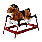 Qaba Spring Rocking Horse Kid Children Plush Ride on Toy with Realistic Sounds