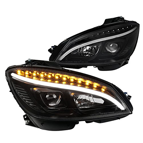 For Mercedes Benz W204 C-Class Replacement Black Strip LED Signal Projector Headlights