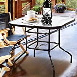 Homevibes 32'' Outdoor Patio Dining Table Tempered Glass Top Bistro Table Top Umbrella Stand Square Deck Furniture Garden Table Metal Frame, Dark Chocolate