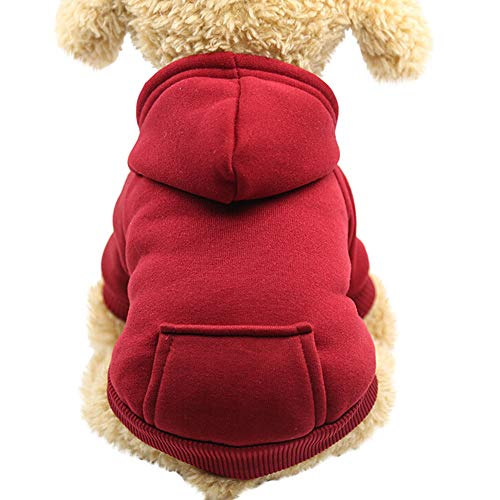 FitfulVan Clearance! Hoodied Sweatshirts with Pocket Dog Clothes Pet Clothing(Wine - Sweatshirt Personalized Pet
