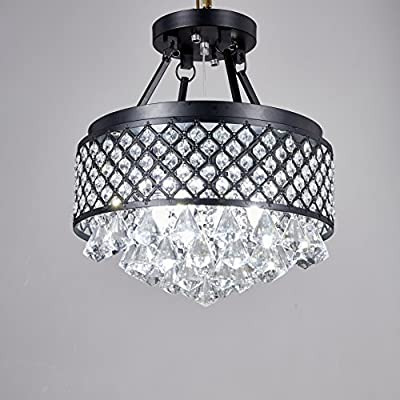 Broadway Black Classic Crystal Chandeliers Modern Lamps Pendant Light Ceiling Fixture BL-AAI/BK4 W14 X H16 Inch