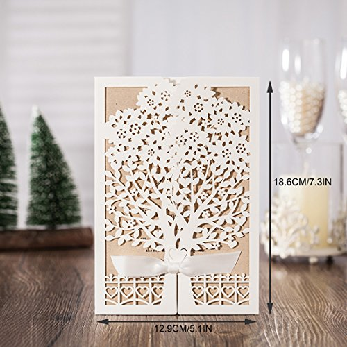20pcs Hollow Love Tree Laser Cut Wedding Invitations Cards Kit for Autumn Marriage Engagement Birthday Bridal Shower - Glasses Printable Invitations