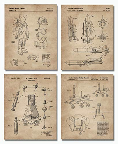 Outer Space Patent Prints (8″x10″) Set of 4 – Wall Art Decor – Great Gift for Aerospace Lovers