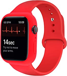 iTecFree Compatible for Apple Watch Band with Case 44mm Red,Soft Silicone Sport Bands Wrist Strap with Protective Bumper for iWatch SE Series 6 / Series5 / Series 4 Accessories (44mm Red)