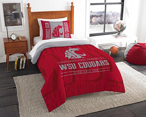 Washington State Cougars - 2 Piece Twin Size Printed Comforter Set - Entire Set Includes: 1 Twin Comforter (64