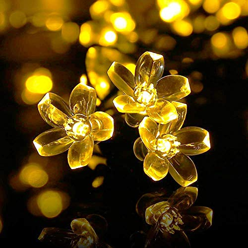 Qedertek Flower Solar String Lights, 21ft 50 LED Fairy Garden Blossom Christmas Lights for Outdoor, Home, Lawn, Patio, Party and Holiday Decorations (Warm White)
