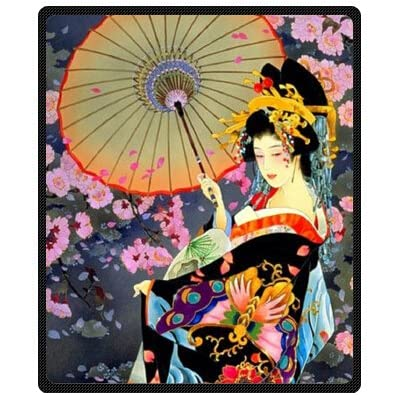 "Home Fashions design Fleece Blanket Throw 50"" x 60"" (Medium) Size with Japanese Art Geisha Girl Psychedelic Background: Home & Kitchen"