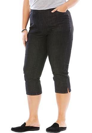 6a0ea0df03f Woman Within Plus Size Petite Capri Fineline Jean at Amazon Women s ...