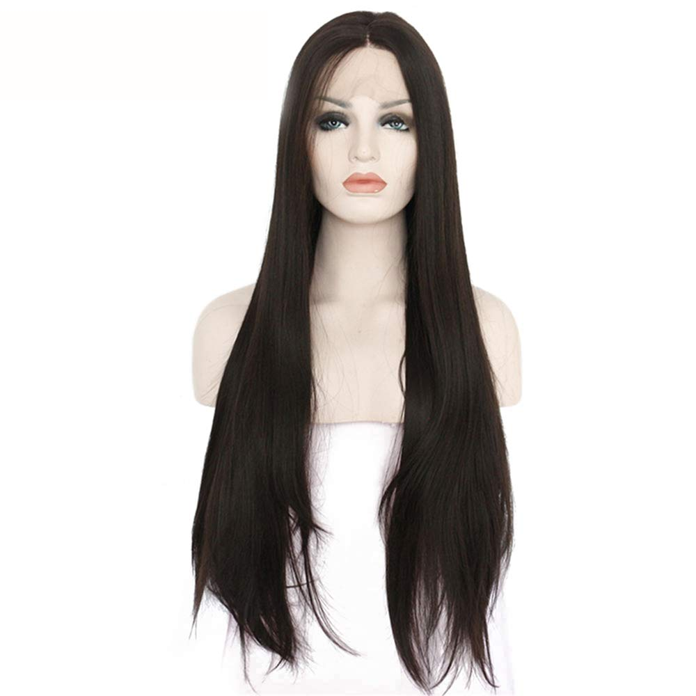 AZHENGGQIAN High Temperature Fiber Long Straight Synthetic Wig