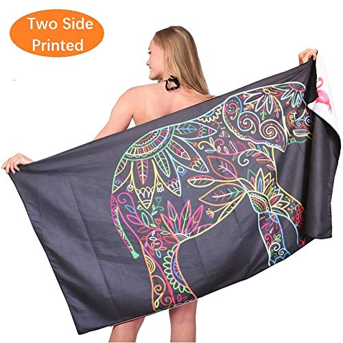 Oversized Microfiber Travel Beach Towel-Sand Free Quick Dry Super Absorbent Lightweight Large Towels Blanket for Pool Swimming Bath Adult Women Men Body Black Elephant Flamingo (Beach Elephant)