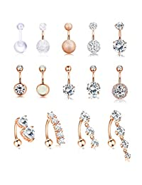 Jstyle 14Pcs Stainless Steel Dangle Belly Button Rings for Women Girls Reverse Navel Rings Curved Barbell CZ Body Piercing 14G