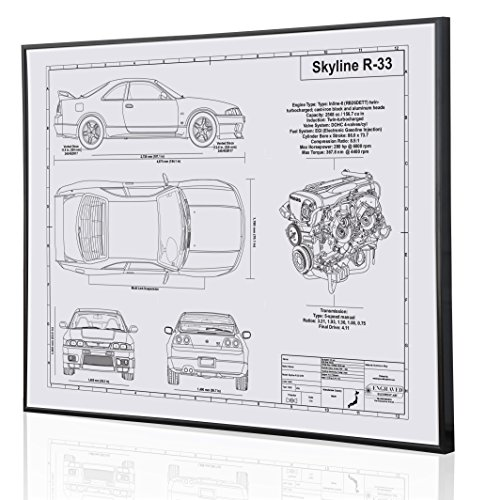 Nissan Skyline R-33 GTR V-Spec Blueprint Artwork-Laser Marked & Personalized-The Perfect Nissan Gifts
