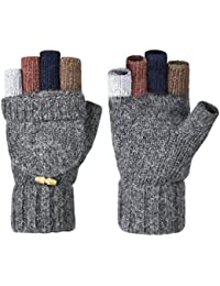 Winter Gloves Warm Wool Mittens With Mitten Cover
