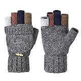 Vbiger Winter Warm Wool Mittens Gloves (Dark Grey2)