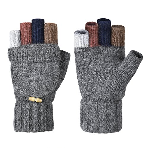 Warm Wool Gloves - Vbiger Winter Warm Wool Mittens Gloves (Dark Grey2)
