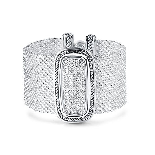 UNY Austrian Pave Crystals Designer Inspired Personality Bracelets Alloy Bangle Jewelry Antique Jewelry (Silver)