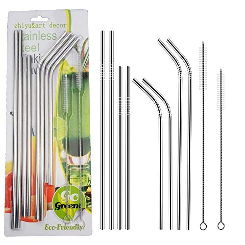 Stainless Steel Drinking Straws Set of 8 Ultra Long 10.5 Inch Dishwasher Safe Reusable Metal Straws for 20 30 OZ Tumblers Cups Mugs-Mental Drinking Straws with Cleaning Brush (Set 8-a)