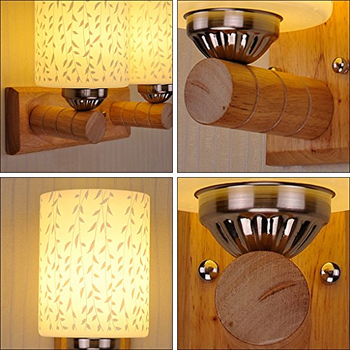 Wandmontiert Wandlampe LED Holz Nachttischlampe Wandleuchte einfache moderne Schlafzimmer Wand Lampe Gang Treppenhaus Massivholz Wandleuchte ( Farbe : D ) D