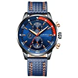 Globenfeld Daytimer Mens Chronograph Quartz Wrist Watch | Blue Multifunctional Analog Display | Timer / Stopwatch & Tachymeter | Military Inspired Design | Genuine Leather Strap | 5 Year Warranty
