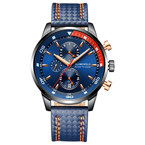 Globenfeld Daytimer Mens Chronograph Quartz Sports Watch | Blue 3-Function Analog Display with Stopwatch and Tachymeter | Genuine Leather Strap and Scratch Resistant Glass | Platinum 5 Year - Glasses Online Police