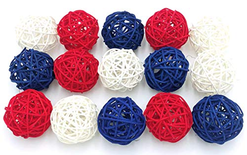 Thailand's Gifts : Small Blue, White, Red Rattan Ball, Wicker Balls, DIY Vase And Bowl Filler Ornament, Decorative Spheres Balls, Perfect For Decoration On Any Occasion 2-2.5 inch, 15 Pcs. -