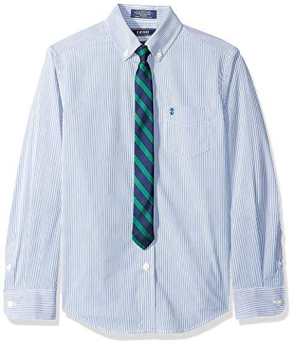 (IZOD Boys' Big Long Sleeve Dress Shirt with Tie, Moroccan Cobalt 16)