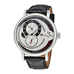 Stainless steel case with a black leather strap. Fixed stainless steel bezel. Silver-tone dial with luminous black minute hand. Arabic numeral and indices hour markers. Minute markers around the outer rim. Dial Type: Analog. Luminescent hands...