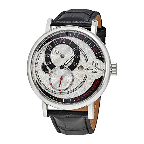 Lucien Piccard Supernova Regulator Auto Black Genuine Leather Silver-Tone Dial Men's Watch 15157-02S