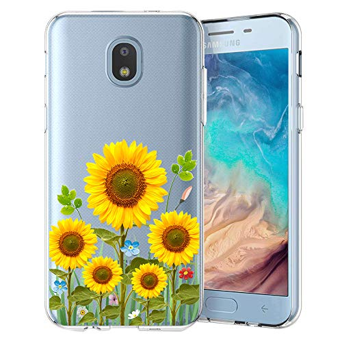 Unov Galaxy J7 2018 Case Clear with Design Slim Protective Soft TPU Bumper Embossed Pattern Cover for Galaxy J7 Crown J7 Refine J7 Star J7 V J7V 2nd Gen J7 Aero J737V(Sunflower Blossom)